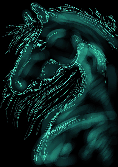 Turquoise horse. fun tablet - illustration - sande2013 | ello